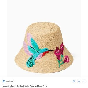 Kate Spade straw bucket hat with hummingbird